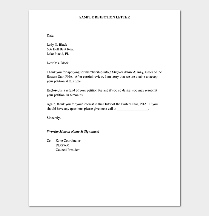 Membership Rejection Letter