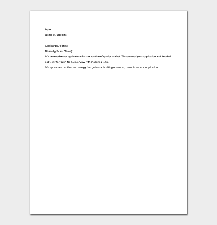Rejection Application Letter