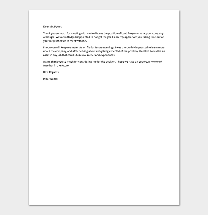 Second Interview Rejection