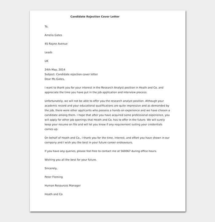 Formal Candidate Rejection Letter