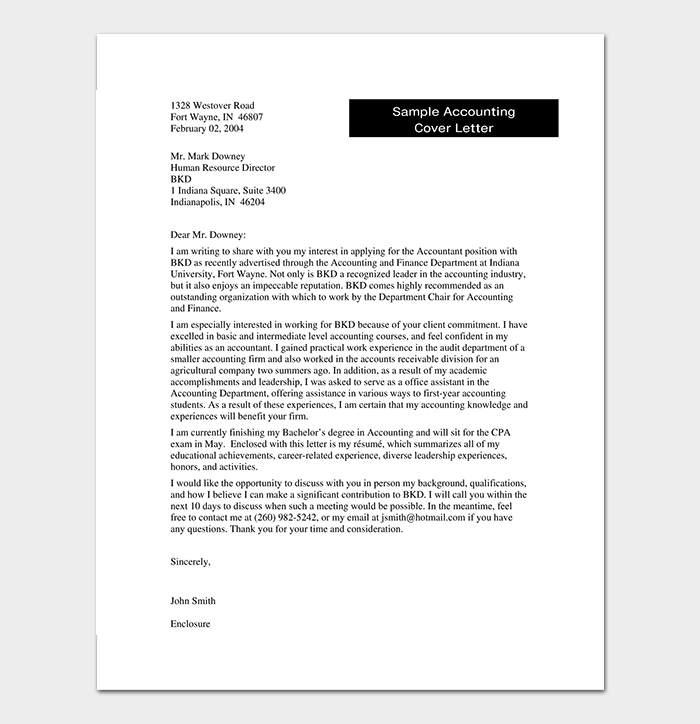 Accounting & Finance Cover Letter