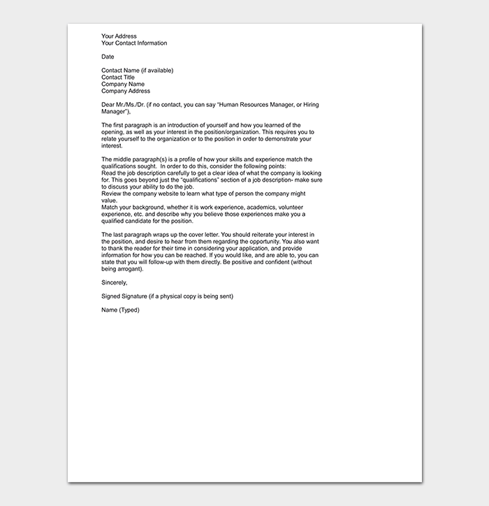 HR Manager Professional Cover Letter
