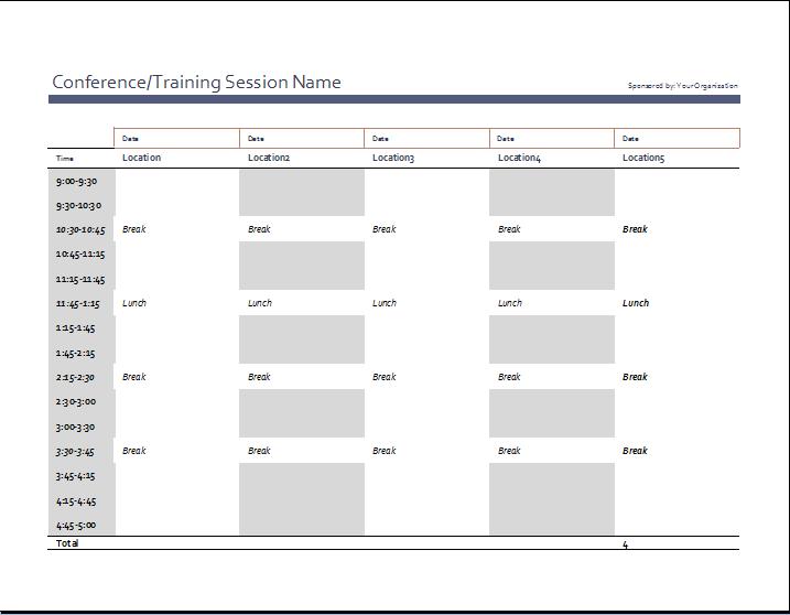 Pastikan semua giliran kerja tercakup dengan templat jadwal karyawan, dan gunakan. Business Event Schedule Template Word Excel Templates