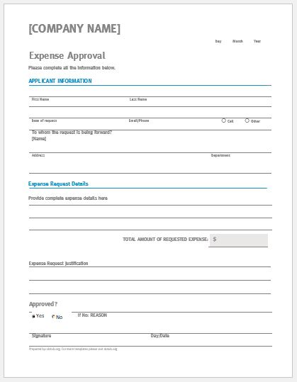 Importance of using approval request form templates. Business Expense Approval Form Template Doc Word Excel Templates