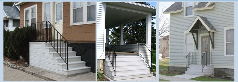 Doty Steps Quality Precast Steps And Custom Railings Since 1948   Premade Steps For Outside   Handrail   Wood   Stair Railing   Deck   Wooden