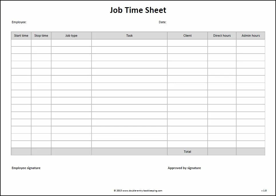 If you're looking for a free excel timesheet template to manage employee hours accurately, i've got tons. Job Time Sheet Template Double Entry Bookkeeping