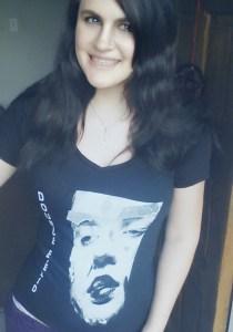 Lilika models a Double Eyelid t-shirt
