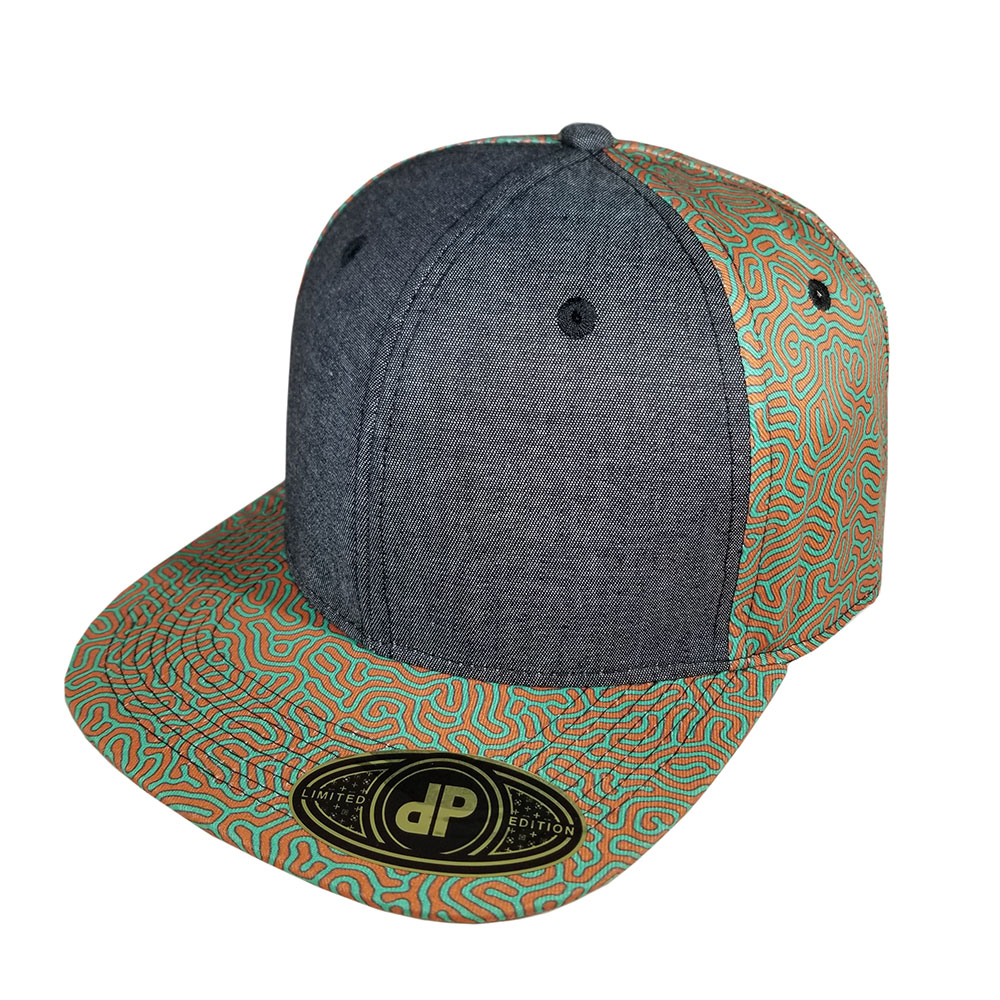Coral-Orange-Mint-Black-Denim-Snapback-Flatbill-Hat