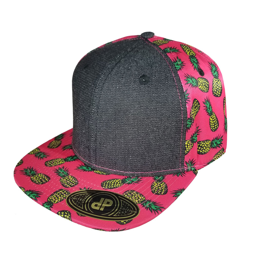 Pink-Pineapples-Black-Denim-Snapback-Hat