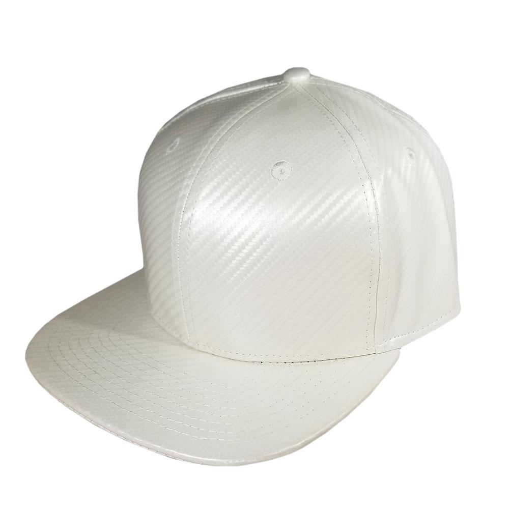 Blank Hat Snapback Flatbill: White Carbon Fiber