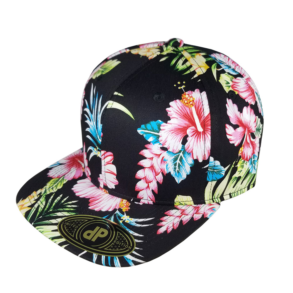 All-Full-Black-Floral-Snapback-Hat