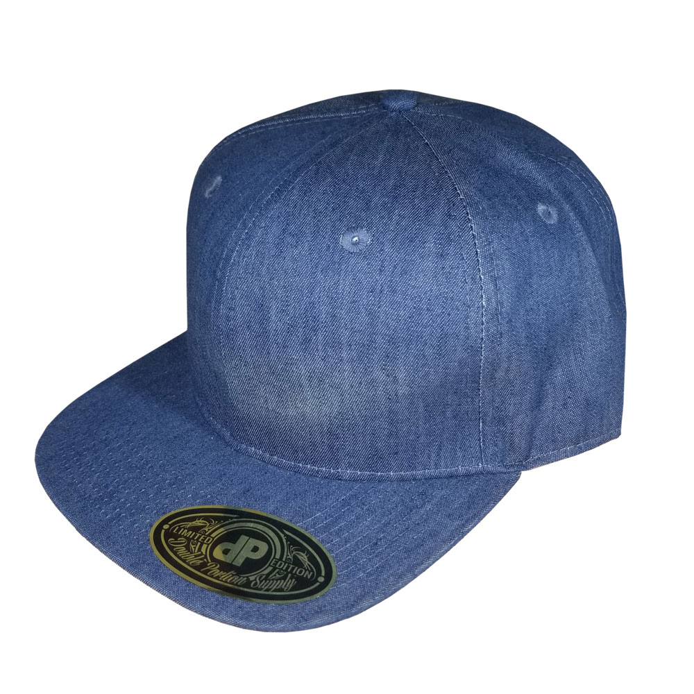 Solid-Blue-Denim-Flatbill-Snapback-Hat