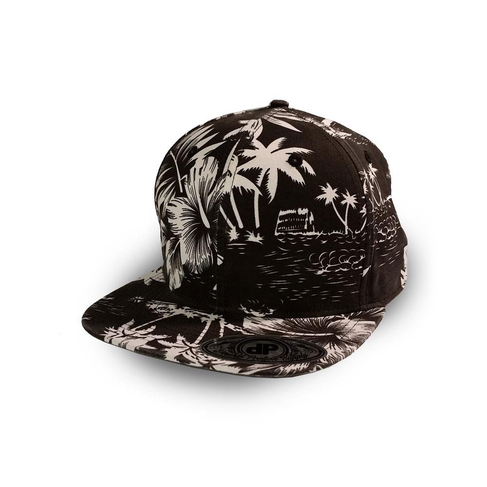 c60a30e8125 Blank Hat  Full Black   White Floral Flatbill Snapback – Double ...