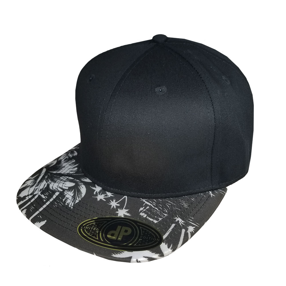 Black-and-White-Floral-Bill-Flatbill-Snapback-Hat