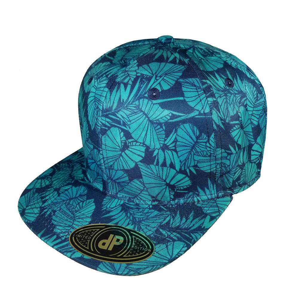 Kalo-Blue-Mint-Palm-Floral-Flatbill-Snapback-Hat