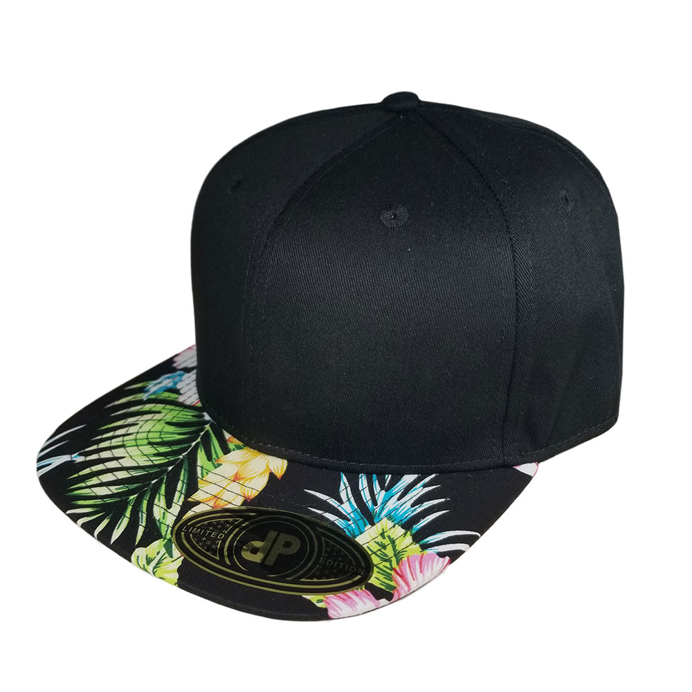 Black-Black-Floral-Bill-Snapback-Hat
