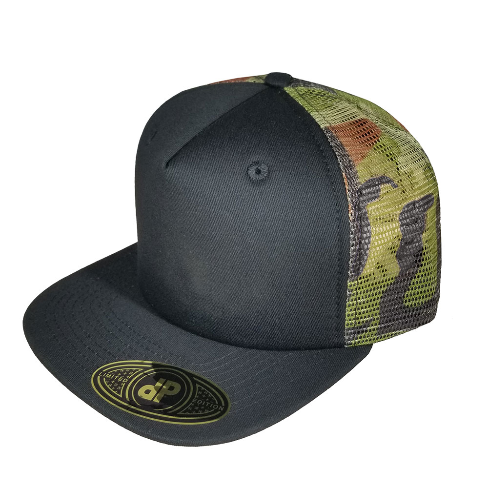 31b8791c Blank Hat Snapback Flatbill: Black / Camo Mesh