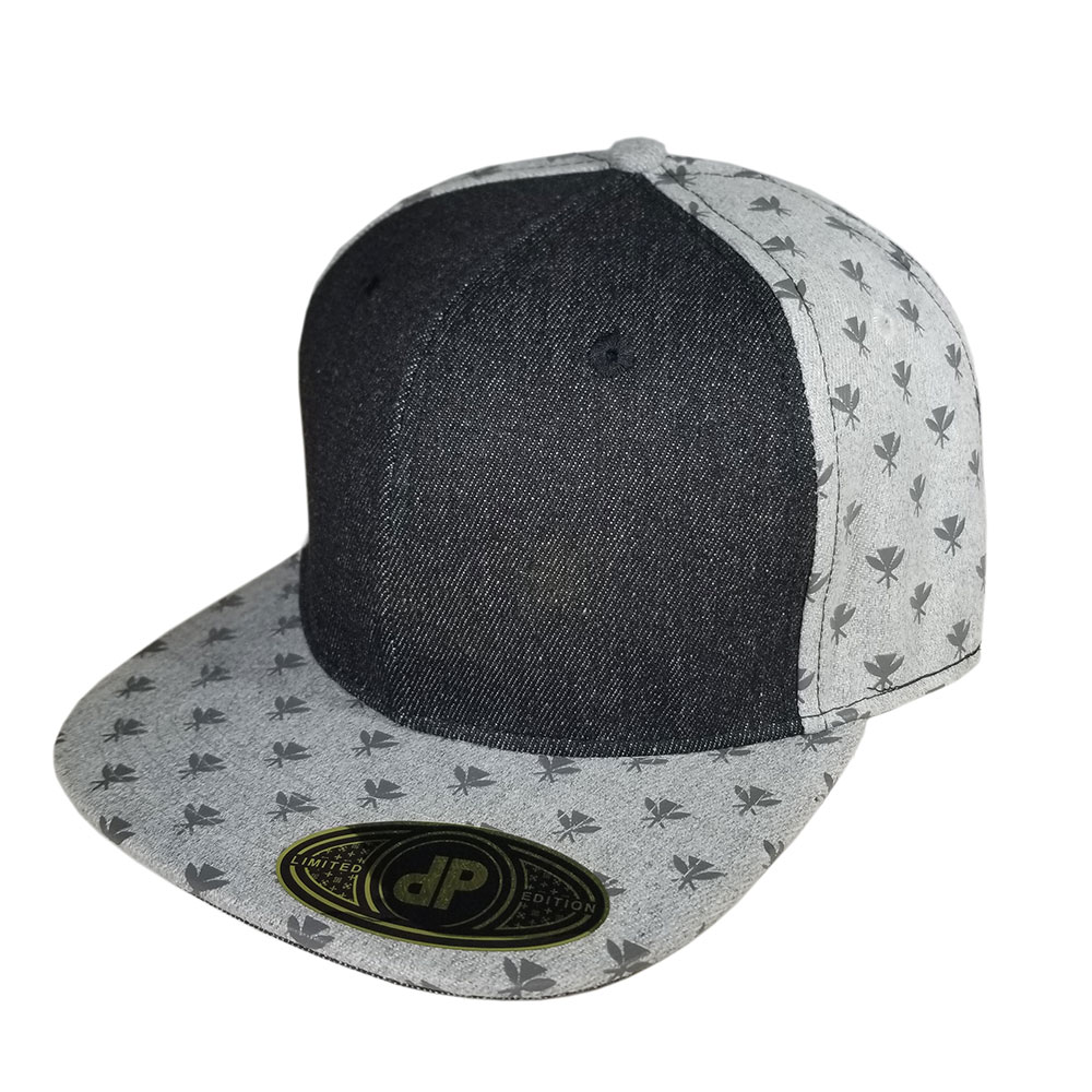 Black-Denim-Gray-Grey-Kahili-Pattern-Snapback-Hat