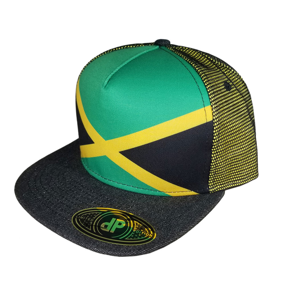 Jamaican-Flag-Mesh-Snapback-Hat