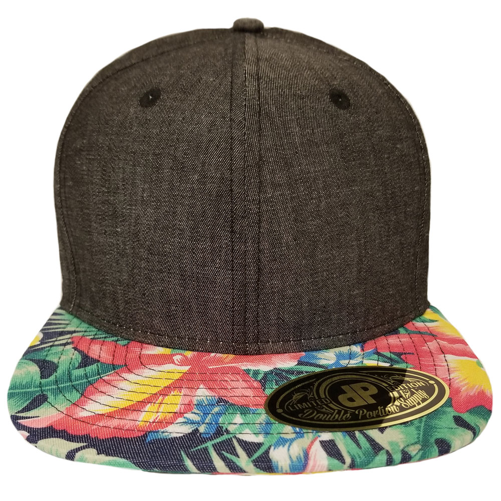 b4057c630b3 Blank Hat  Black Denim   Ginger Floral Bill Flatbill Snapback