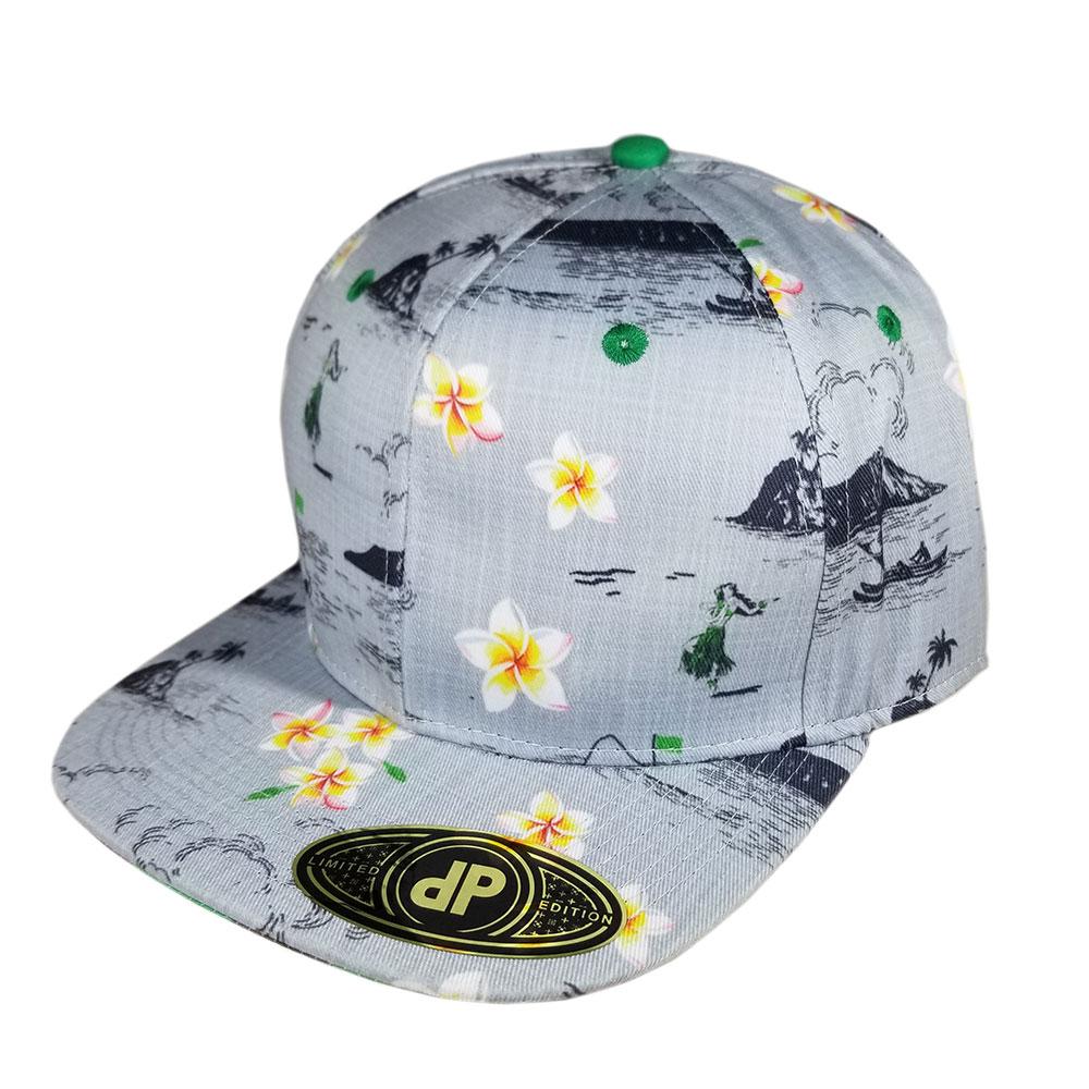 GALLERY Blank Hat Snapback Flatbill: Oahu Golf Gray & Kelly Green Floral