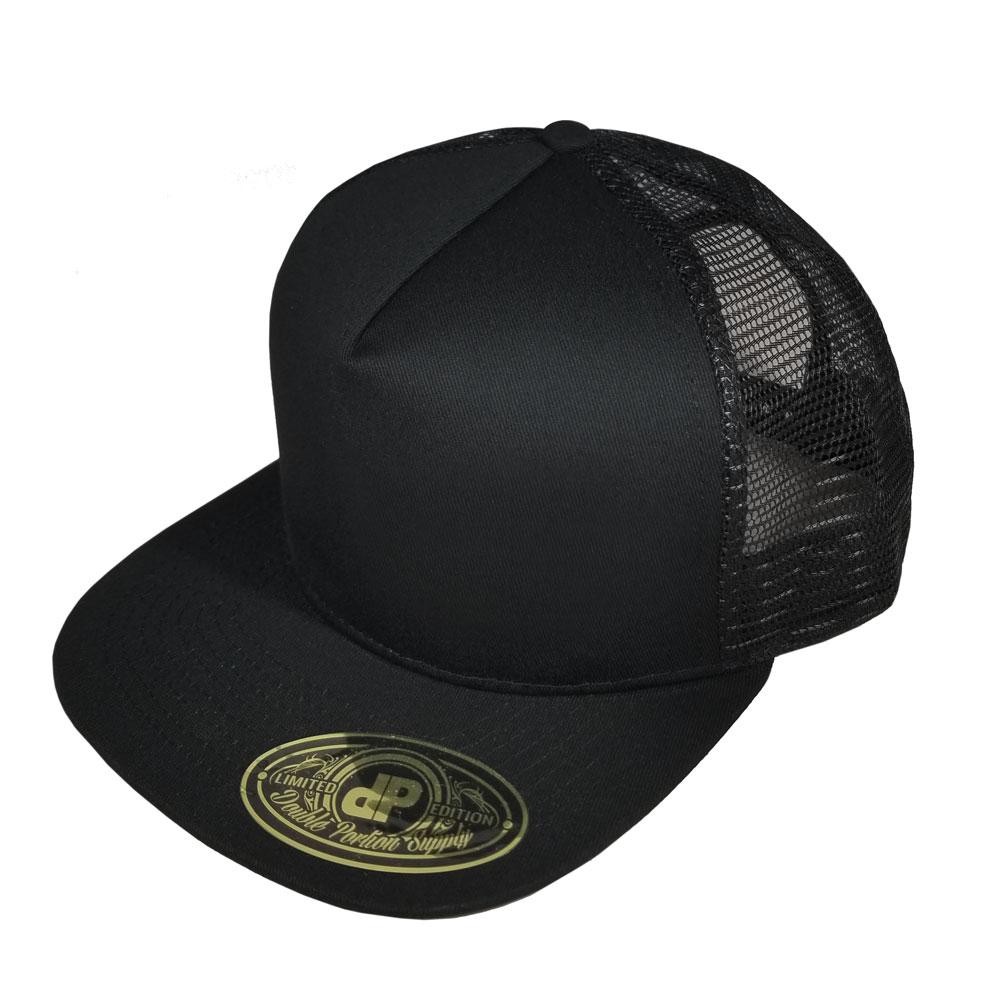 60cdf66219f Blank Hat  Black Mesh Flatbill Snapback