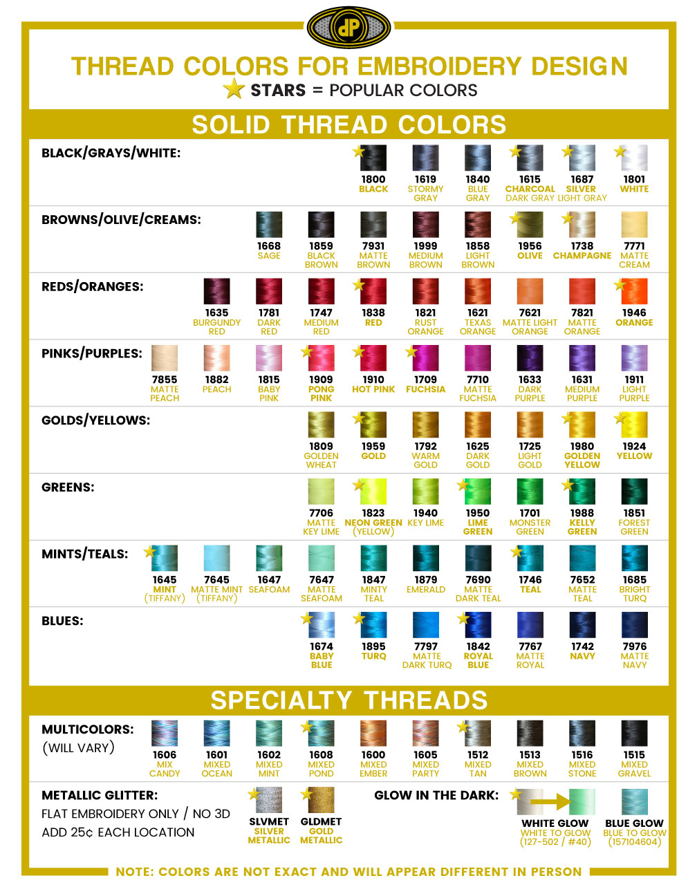 Embroidery Thread Colors 2018