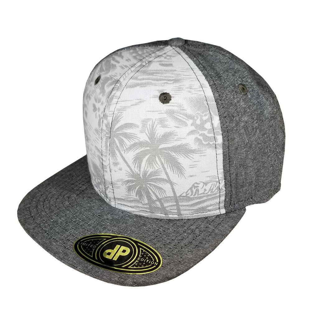 Denim-Brown-Floral-Snapback-Flatbill-Hat-Cap