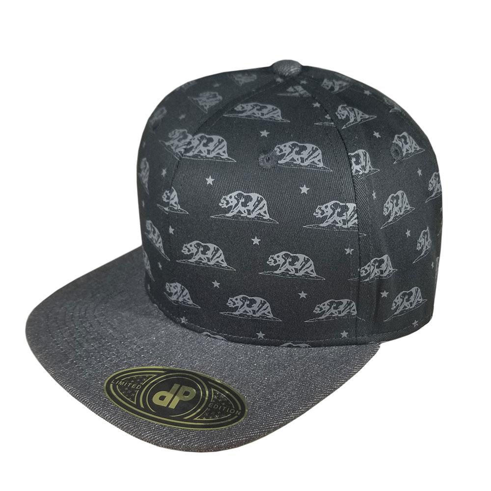 California-State-Bear-Flag-Black-Denim-Snapback-Flatbill-Hat-Cap