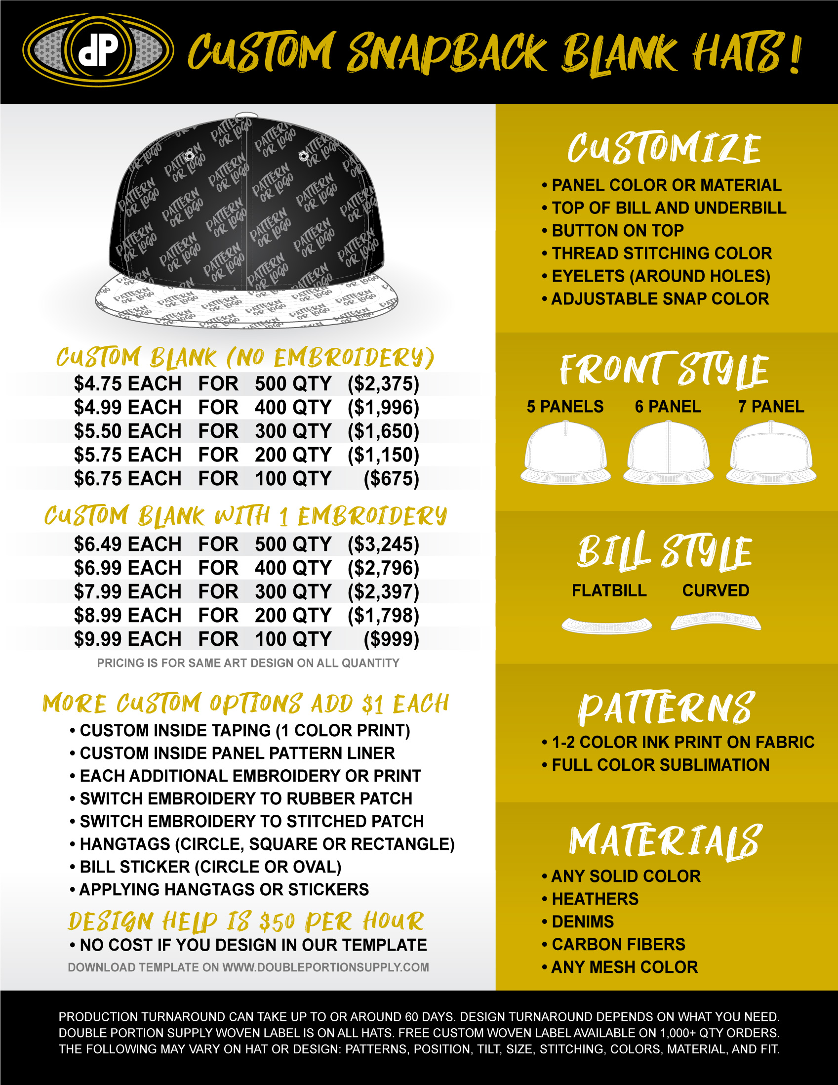 CUSTOM SNAPBACK BLANK HATS – Double Portion Supply