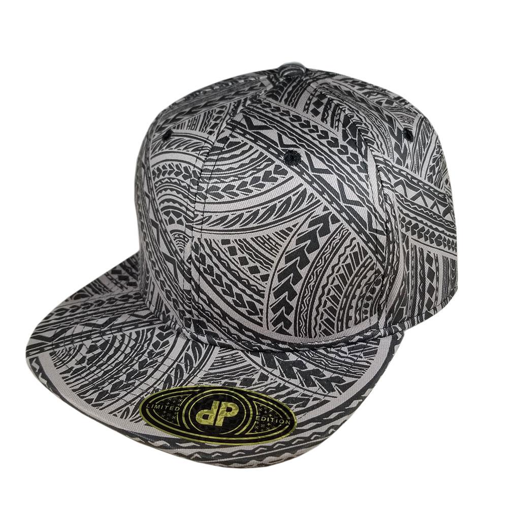 Tribal-Full-Grey-Gray-Black-Snapback-Flatbill-Bill-Hat-Cap