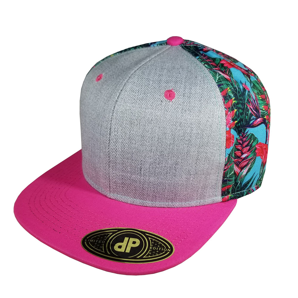 Heather-Gray-Grey-Hot-Pink-Paradise-Snapback-Curved-Bill-Hat-Cap