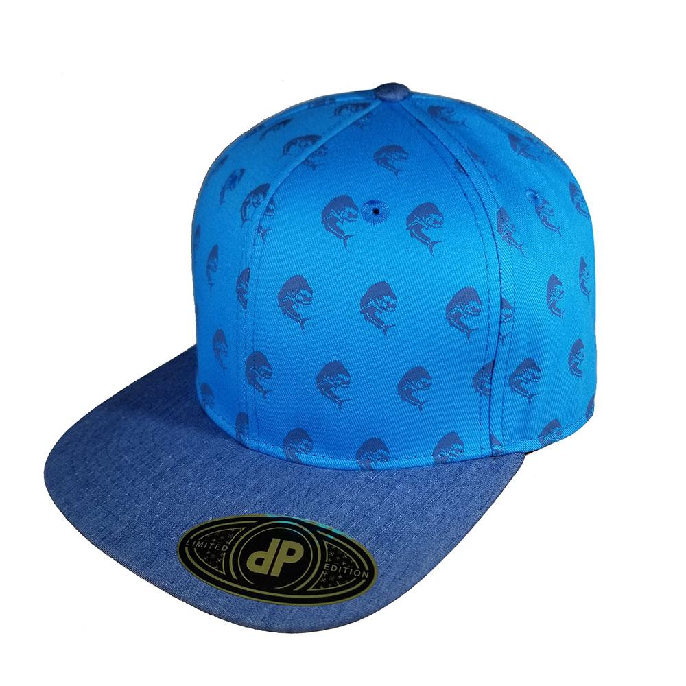 Mahi-Mahi-Fish-Blue-Turq-Denim-Snapback-Curved-Bill-Hat-Cap