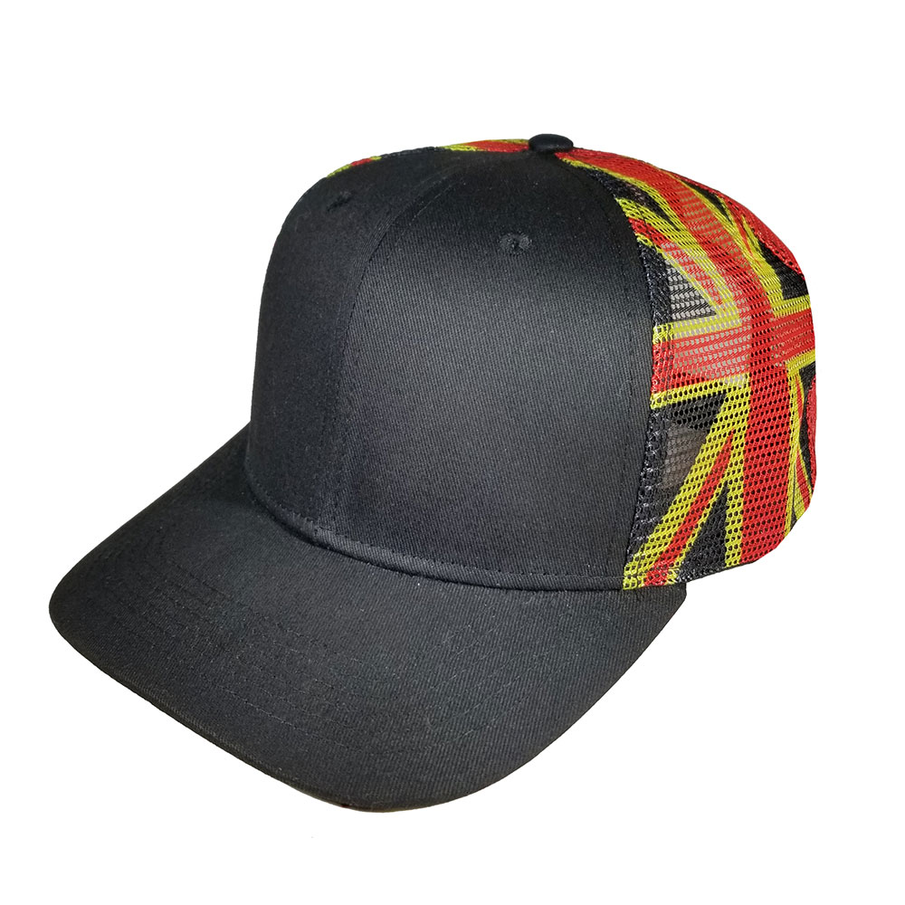 Hawaiian-Islands-Denim-Red-Yellow-Black-Snapback-Flatbill-Hat