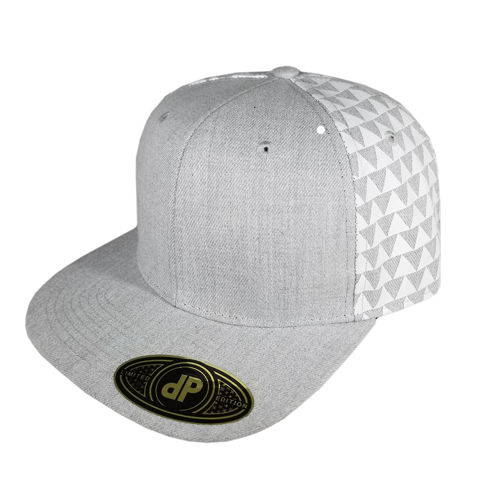 Heather-Gray-Grey-White-Triangles-Snapback-Flatbill-Hat-Cap