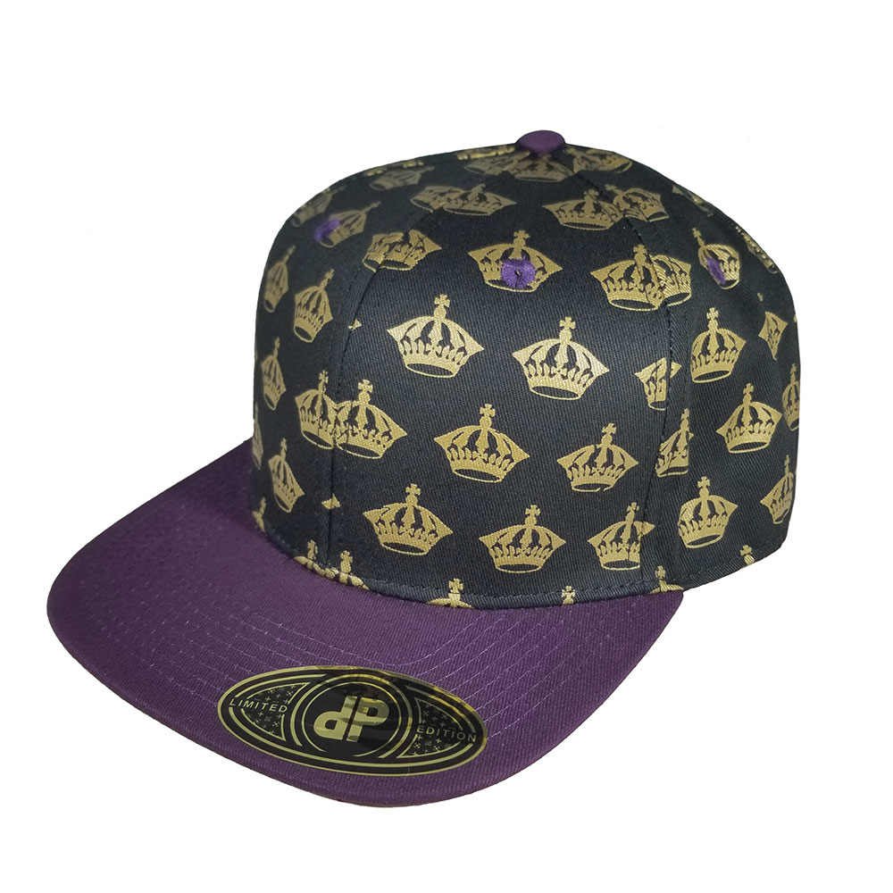 Royal-Crown-Gold-Black-Purple-Snapback-Curved-Bill-Hat-Cap