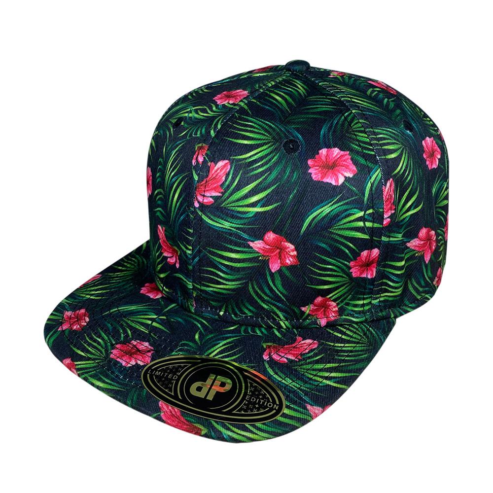 snapback-flat-black-palm-hibiscus-floral