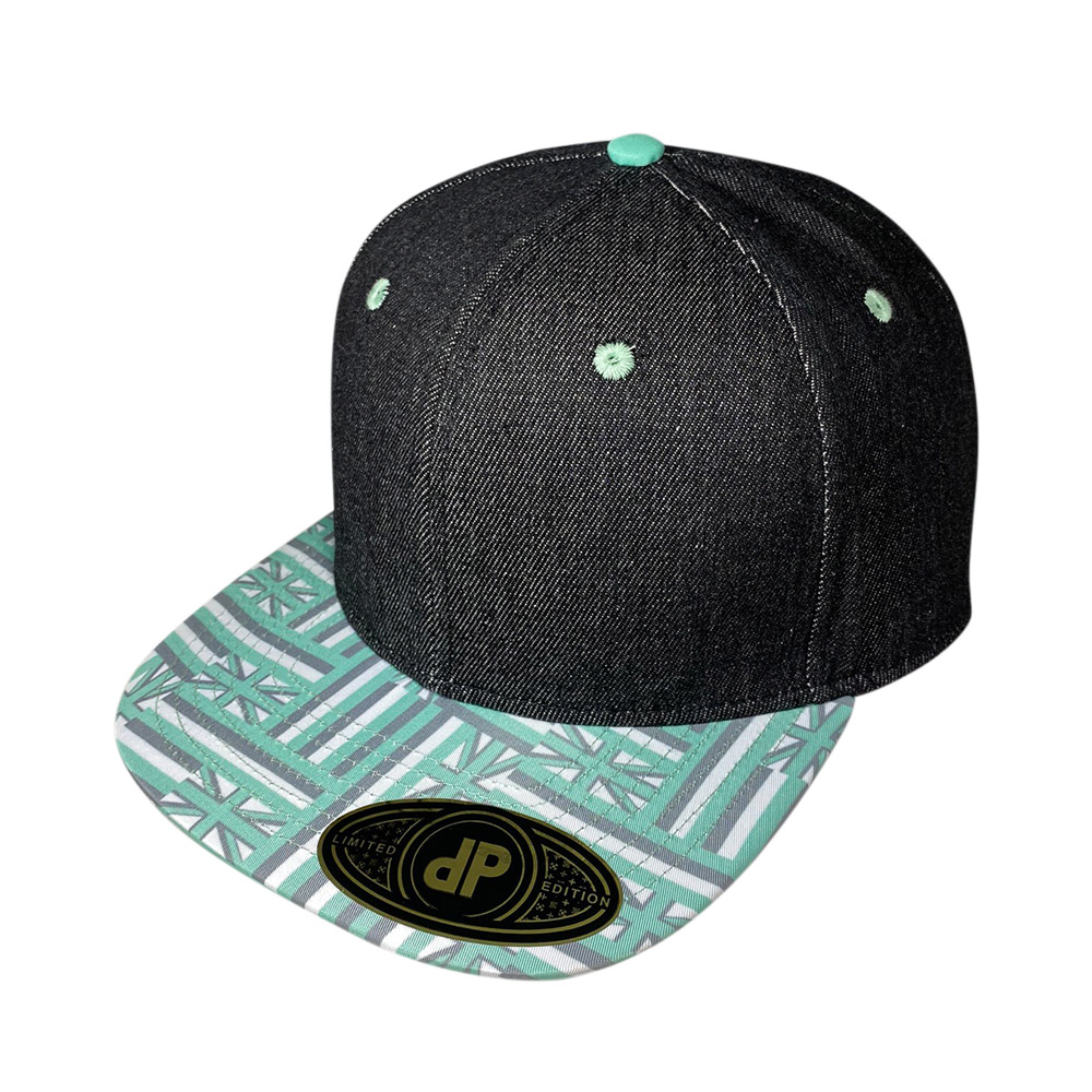 blank-hat-snapback-flat-bill-black-denim-seafom-green-hawaiian-flag-bill