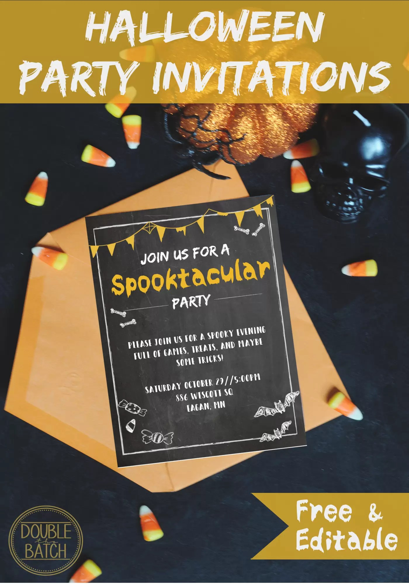 If you're looking for more Halloween freebies like these free Halloween party invitations for your shindig, check out my lists of free Halloween party games, Halloween music, and spooky Halloween sounds. It makes it easy to make your Halloween party the best for less.