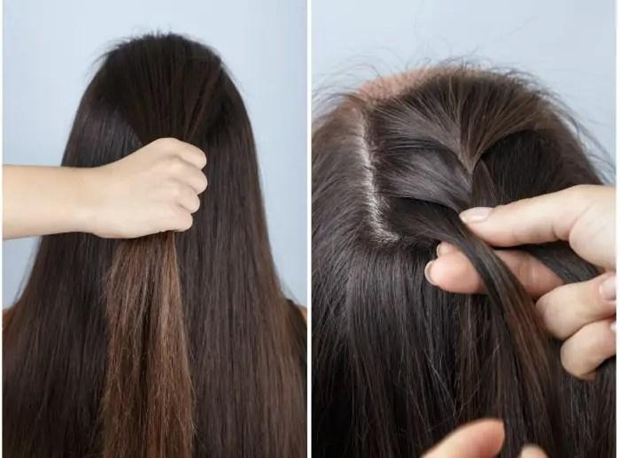 twisted bun and half braid hairstyle tutorial