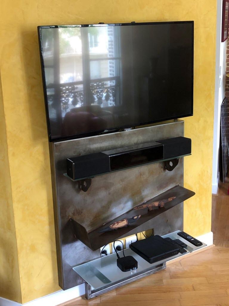 meuble tv console en metal patine