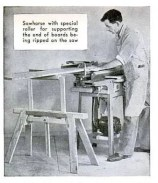 Sawhorse with roller for ripping long boards on the table saw