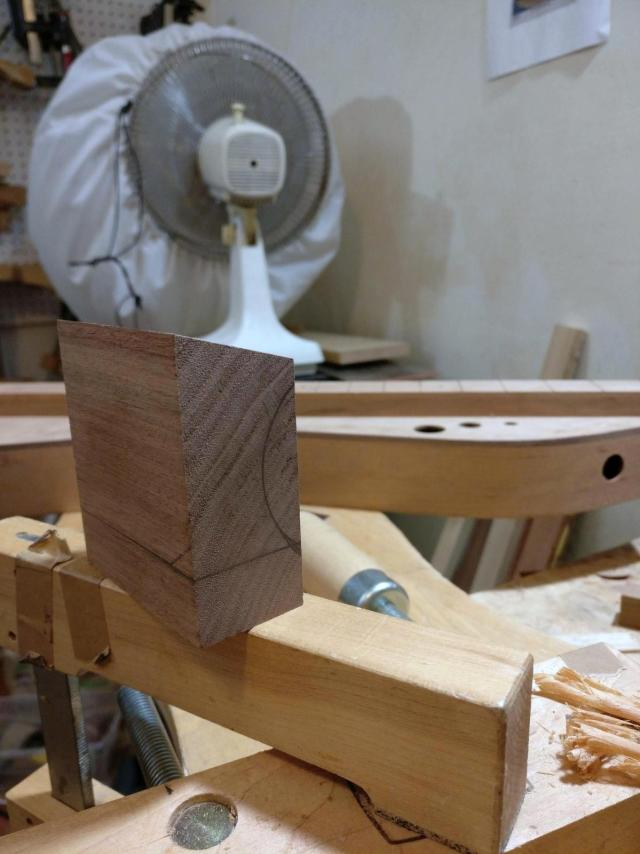 Laying out a dulcimer peghead support block.