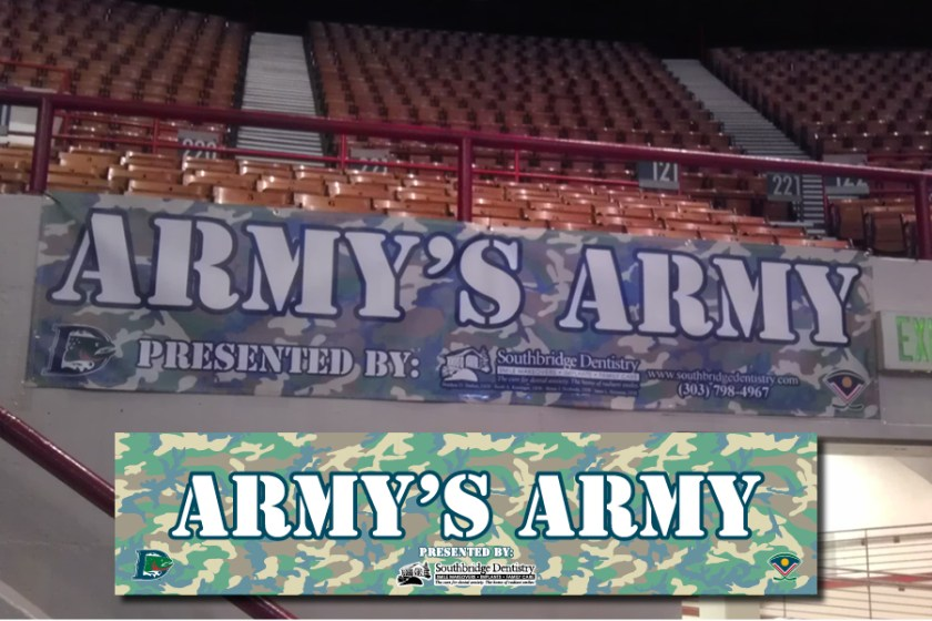 "Signage for the ""Army's Army"" suite inside the Denver Coliseum for the Denver Cutthroats home games."