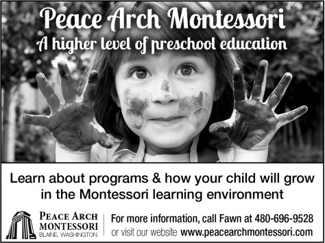 Peace Arch Montessori advertisement that ran in the 2014 August 28 issue of The Northern Light.