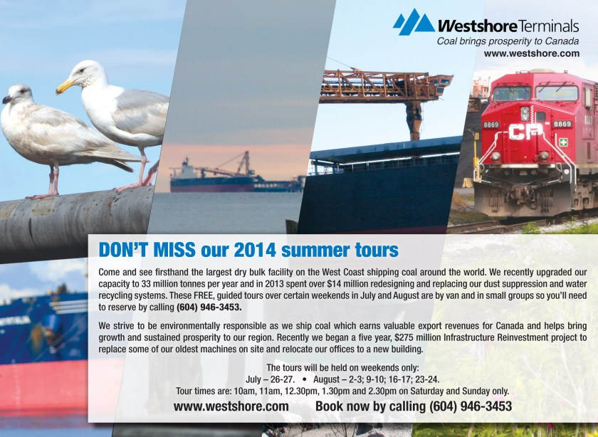 Westshore Terminal summer tours advertisement found in the 2014 August issue of All Point Bulletin.
