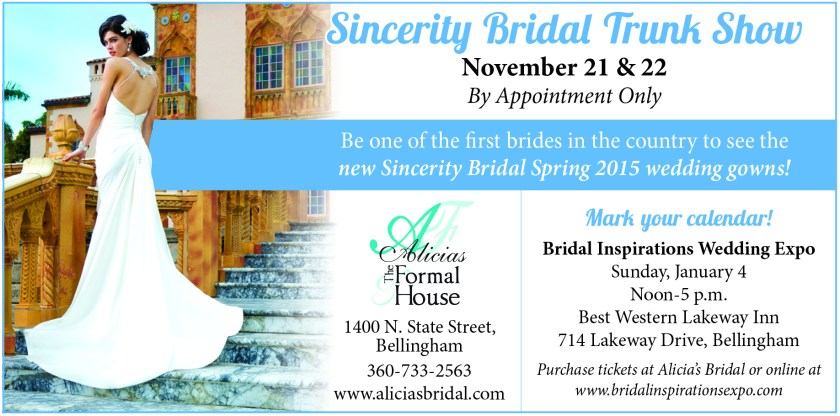 Alicia's Bridal Shoppe advertisement from the 2014 October 13 edition of The Northern Light.