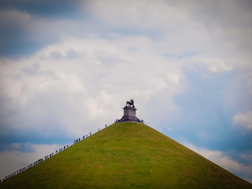 The Butte du Lion monument, Saturday 20th June 2015, built at the site where Wellington was reported to have watched over his troops as they fought in the 1815 battle against Napoleon.