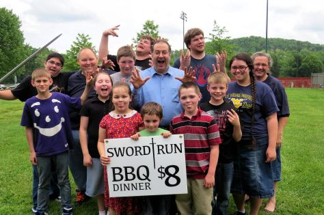 Sword Run - Kids hamming it up for reporter