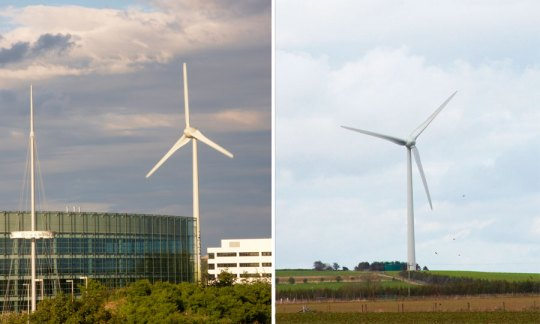 Two identical Enercon E70 Turbines. The one on the left produces 3.5GWh whilst the one on the right produces 5.7GWh.